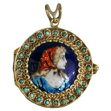 Gold & Limoges Enamel Locket
