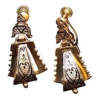 c. 1880 Etruscan Revival 14k Gold Earrings