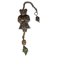 Chinese Chatelaine with Quartz Ball and Jade Leaf