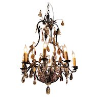 Blacked Scrolled Metal 8-Light Chandelier