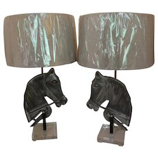 Pair of Cast Aluminum Horse Head Lamps