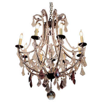 French Rock & Crystal Chandelier