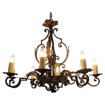 Antique French Iron Chandelier
