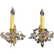 Pair of French Bronze and Crystal Single Light Wall Sconces