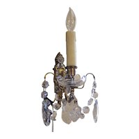 French Bronze and Crystal Single Light Wall Sconce