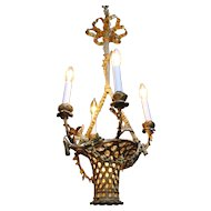French Gilt Bronze Basket Chandelier