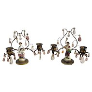 Gilt Bronze Candelabras with Porcelain Figurines