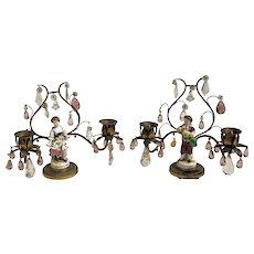 Gilt Bronze Candelabras with Porcelain Figurines