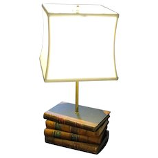 Vintage Lamp Created From Antique Leather Bound Books