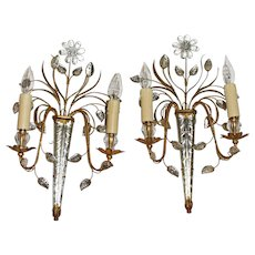 Mid Century French Glass & Gilt Metal Icicle Sconces - a Pair