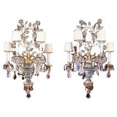 Early-Mid 20th Century French Rock Crystal & Silver Gilt 4-Light Wall Sconces - A Pair