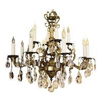 Mid-20th Century Crystal & Bronze 12-Light Chandlier