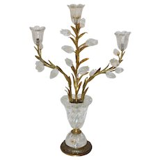 2nd Quarter 20th Century Rock Crystal & Gilt Table Sconce