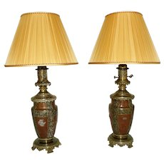 Late 19th Century French Bronze Lamps - A Pair