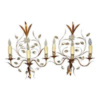 Vintage French 3-light Wall Sconces - A Pair