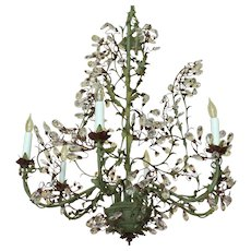 Mid-20th Century French Verdigris Tole & Cut Crystal 6-light Chandelier
