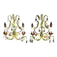 Mid 20th Century French Double Light Sconces - a Pair