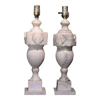 A Pair of Carved Alabaster Table Lamps