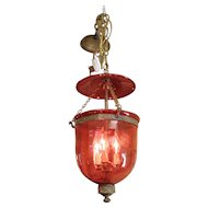 Cranberry Glass Hall Lantern