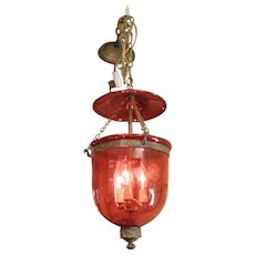 Cranberry Glass Hall Lantern