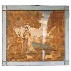 Late 18th Century Silk Panel with fine painting, Mary Magdelene brings water to Jesus