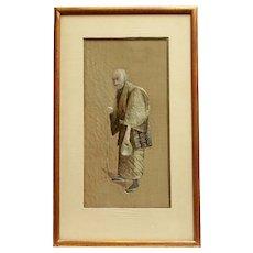 1920s Silk Embroidery Portrait of an Elderly Man