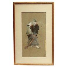 1920s Silk Embroidery Portrait of an Elderly Woman