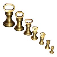 19th Century Brass Bell Form Weights - Set of 7