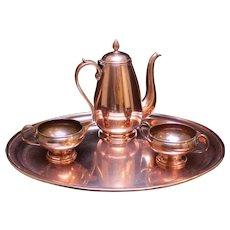C. 1920 French Copper Tea Set