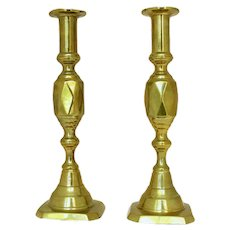 Pair of Diamond Design Brass Candlesticks