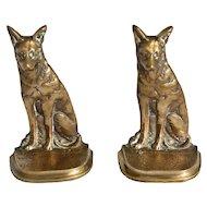 Pair of Solid Brass German Shepherd Bookends