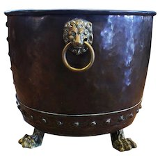 Copper Jardinere with Lion Mask Ring Handles