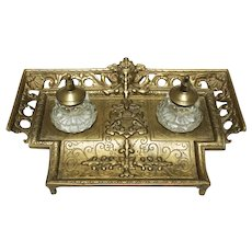 Brass Standish with Glass Inkwells