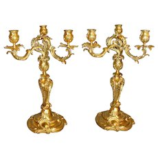 Mid 19th Century French Gilt Bronze Candelabra - A Pair