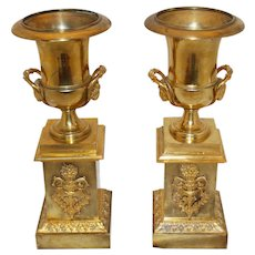Mid 19th Century French 2nd Empire Bronze Mantle Urns - a Pair