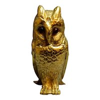 Late 19th Century English Brass Owl Inkwell
