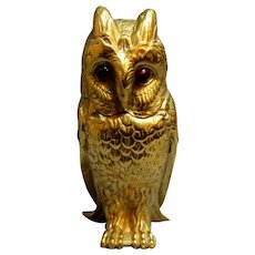 Late 19th Century English Brass Owl Inkwell