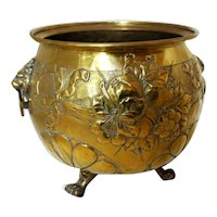 C. 1870s Repousse Brass Jardinere