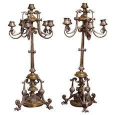 3447z: Silvered Bronze & Bronze 6-Light Candelabras