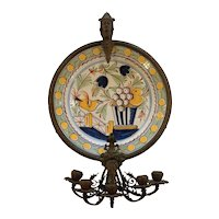 French Faience Charger set in Bronze Wall Sconce