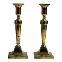 A Pair of Square Brass Candlesticks