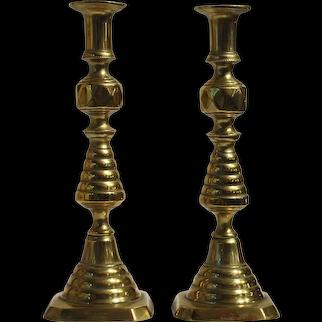 Pair of Brass Beehive Candlesticks