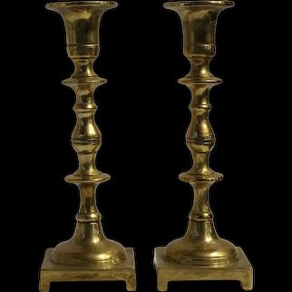 Pair of Continental Cast Brass Candlesticks