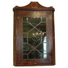 English Mahogany Hanging Corner Cabinet