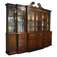 George III Double Breakfront Bookcase with Secretaire