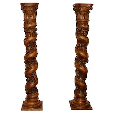 Late 18th Century Walnut Carved Columns - A Pair