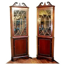 Early 20th Century Edwardian Period Georgian Style Mahogany Corner Cabinets - A Pair