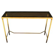 1960's French Eglomise Top Brass Console Table