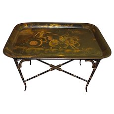 19th Century Tole Tray with Stand