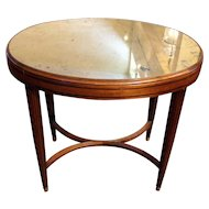 Art Deco Oval Table with Mirrored Top